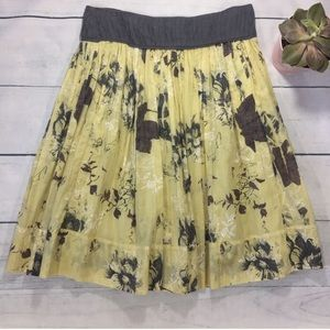ANIMALE Yellow & Gray Floral Skirt